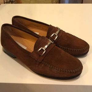Mezlan brown suede horsebit loafers men's 8.5
